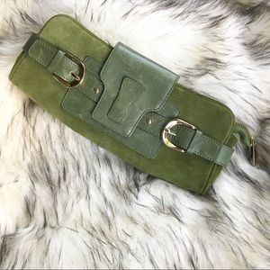 Banana Republic Moss Green Leather Zippered Clutch